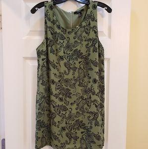 Olive & Black Short Shift Dress with Silver Zipper